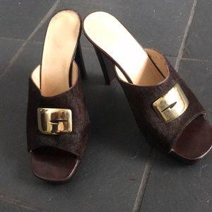 """Vintage Gucci (Tom Ford) brown hide slide gold """"G"""""""
